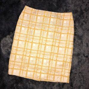 Talbots Gold & Cream Jacquard Pencil Skirt - Sz 10